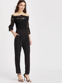 Off Shoulder Lace Overlay Top Tapered Jumpsuit
