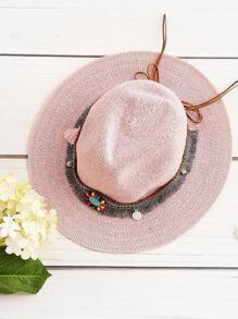 Boho Fringe Straw Hat With Woven Band