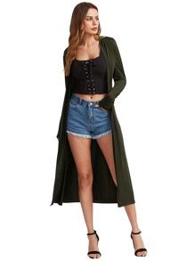 Collarless Longline Duster Coat