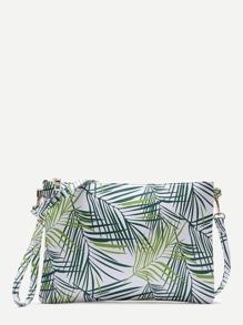 Leaf Print PU Clutch Bag