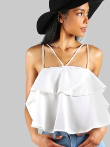 Tiered Ruffle Crop Top OFF WHITE