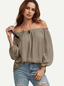 Frill Off Shoulder Elasticized Lantern Sleeve Top