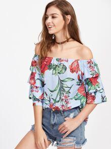 Bardot Floral Print Tiered Cuff Top
