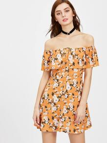 Flounce Layered Neckline Calico Print Button Front Dress