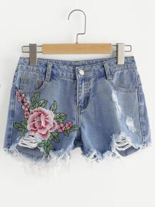 Flower Embroidered Destroyed Denim Shorts