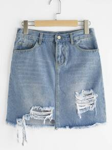 Ripped Frayed Hem Denim Skirt