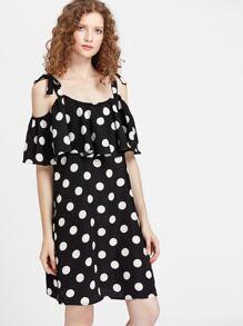 Self Tie Cold Shoulder Flounce Polka Dot Dress