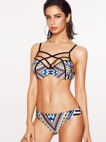 Geometric Print Caged Front Bikini Set