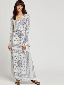 Vintage Print V-neckline Lace Up Slit Side Dress