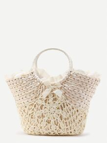 Beach Style Straw Bag With Crochet Detail