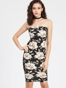 Flower Print Bandeau Dress