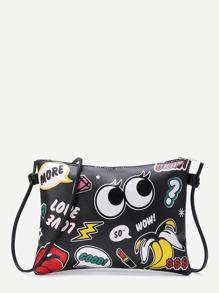 Eye And Letter Print Zipper Detail Clutch Bag