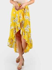 Maxi Frill Surplice Tulip Skirt YELLOW