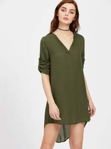 V Neckline Rolled Cuff Dip Hem Chiffon Dress