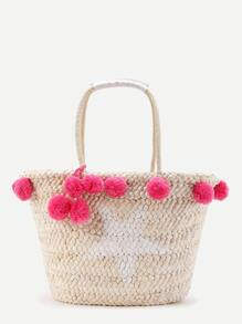 Pom Pom Straw Tote Bag