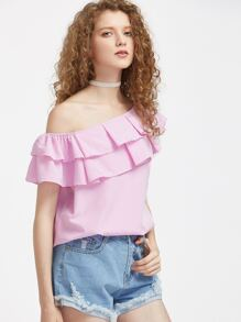 One Shoulder Pinstripe Layered Frill Trim Top