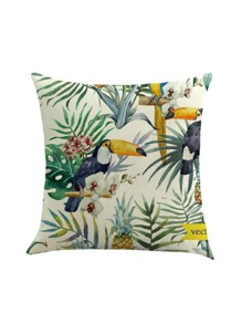 Tropical And Bird Print Cushion Cover
