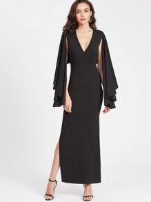 Surplice Plunging High Slit Cape Dress