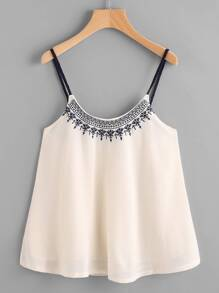 Embroidered Chiffon Cami Top