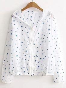 Star Print Zipper Front Hooded Coat