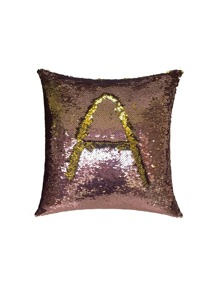 Letter Pattern Sequin Design Cushion Cover