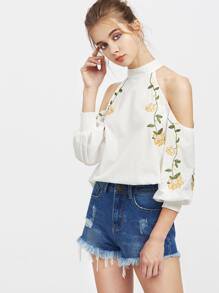 Buttoned Keyhole Open Shoulder Shirred Cuff Embroidered Top