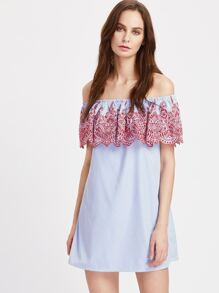 Eyelet Embroidered Frill Bardot Striped Dress