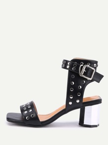 Studded Detail Ankle Strap Heeled Sandals