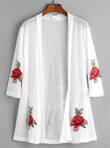 Rose Patches Sheer Kimono With Back Belt Detail