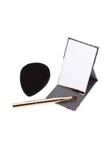 Makeup Mirror Brush And Puff Set