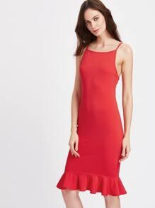 Frill Hem Cami Strap Bodycon Dress