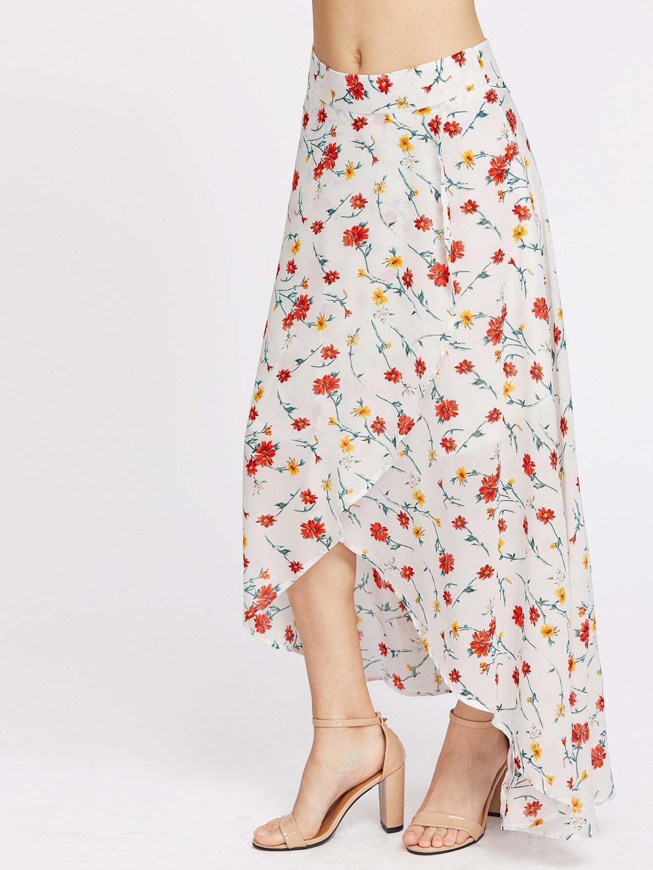 high low hemlines floral zipper side skirt emmacloth