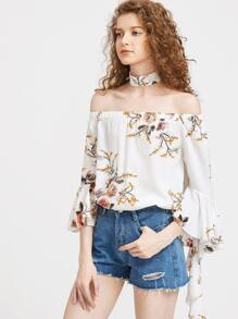 Florals Flare Sleeve Bardot Top With Choker