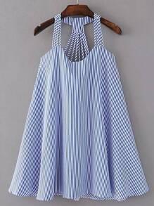 Strappy Pinstripe Open Back Tent Dress