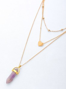 Layered Crystal Pendant Chain Necklace With Heart