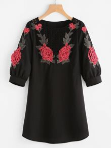 Crochet Yoke 3D Rose Applique Puff Sleeve Dress