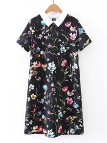 Contrast Collar Flower Print Dress