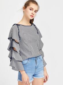 Gingham Tiered Sleeve Tie Detail Blouse