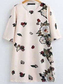 Elbow Sleeve Flower Embroidery Dress