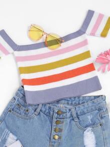 Striped Crop Knit Bardot Top