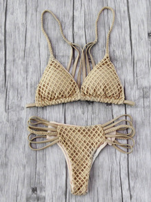 Hollow Out Weave Straps One-Piece Bikini Set
