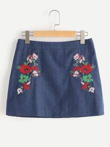 Flower Embroidered A Line Denim Skirt