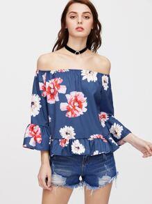 Bardot Floral Print Bell Sleeve Top
