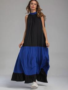 Contrast Pleated Frill Hem Tent Dress