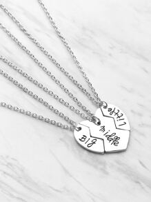 Heart Pendant Friendship Necklace 3pcs