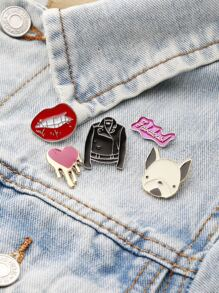 Dog And Lip Cute Brooch Set
