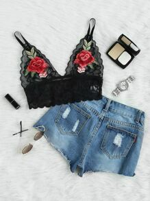 Embroidered Flower Patch Wide Band Comfy Bralette