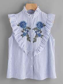 Embroidered Flower Applique Frilled Yoke Striped Blouse