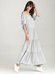 Vertical Striped Off Shoulder Tie Cuff Dress