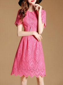 Embroidered Mesh Scallop Dress